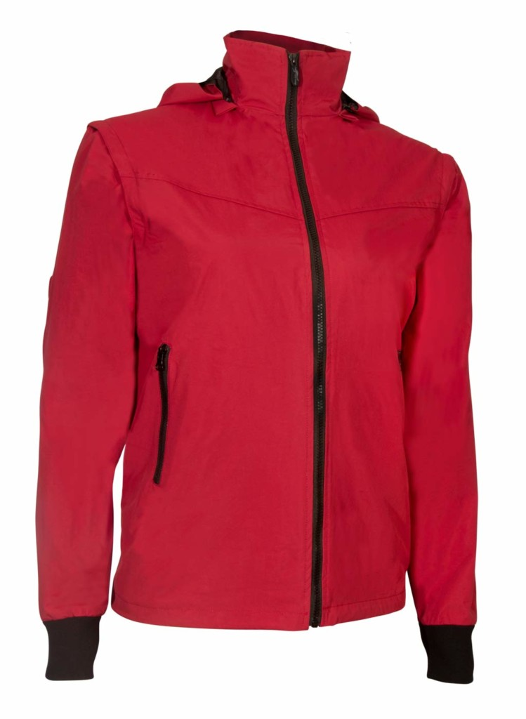 red travel jacket