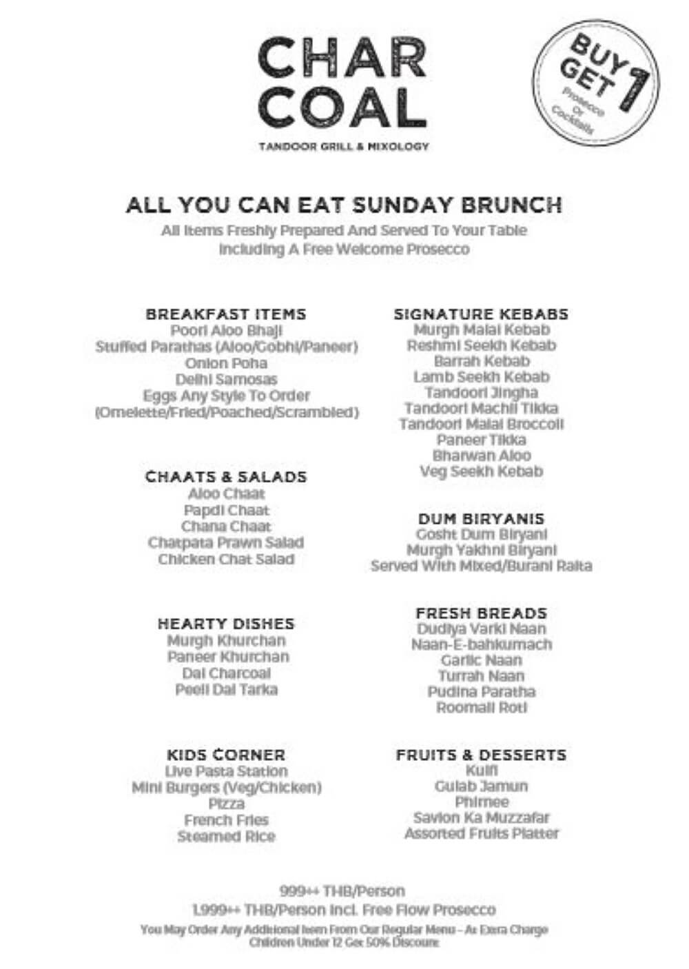 Charcoal Tandoor Grill and Mixology Brunch Menu