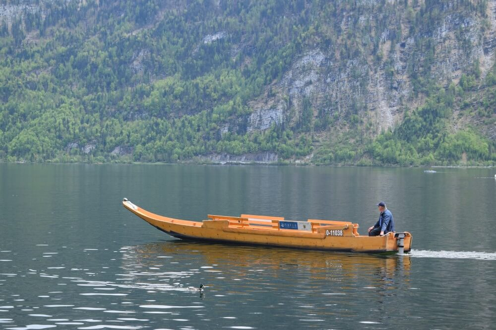 Boat ride in Hallstatt lake